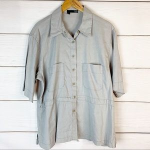 Eileen Fisher Gray Linen Blend Button Down Size L